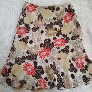 Ann Taylor LOFT 8 Cream Floral Neutral Skirt